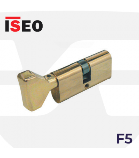 CILINDRO SERRETA F5 perfil ovalado con pomo, laton, ISEO