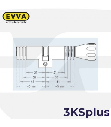 Cilindro Alta seguridad 3KSplus,Perfil Suizo Pomo,5 llaves, EVVA