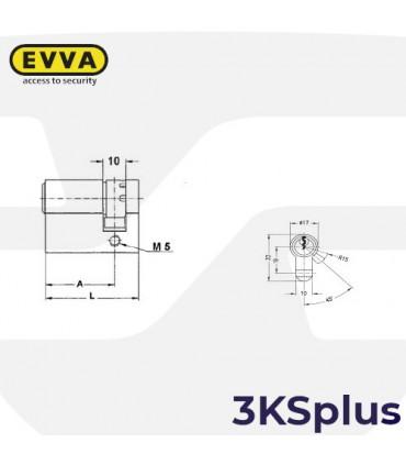 Cilindro Alta seguridad 3KSplus,5 llaves, EVVA