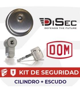 KIT CILINDRO ALTA SEGURIDAD DIAMANT POMO INOX + ESCUDO ALTA SEGURIDAD ROK, DOM/DISEC