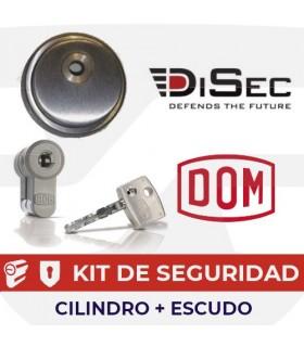 KIT CILINDRO ALTA SEGURIDAD DIAMANT INOX + ESCUDO ALTA SEGURIDAD ROK, DOM/DISEC
