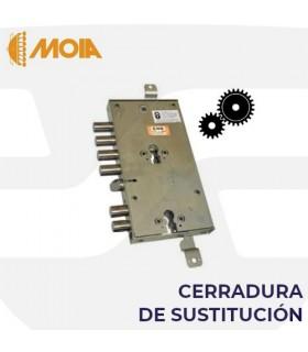 Cerradura sustitución doble cilindro 6 bulones engranajes puertas acorazadas de llave de gorjas a perfil europeo, MOIA