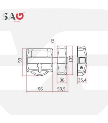 Cerrojo seguridad cilindro intercambiable EP30, SAG