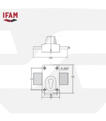 Cerrojo seguridad sobreponer adaptable a cilindro perfil europeo , IFAM