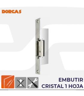 Abrepuertas eléctrico Serie 87, embutir cristal 1 hoja, DORCAS