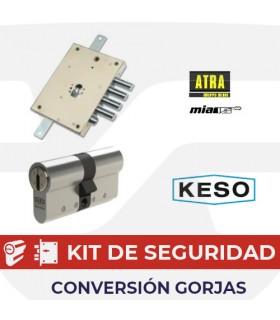 KIT alta seguridad substitución cerradura gorjas 75 de puertas acorazadas por cilindro europeo Keso Premium, Mia, Atra,  Dierre