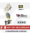 KIT alta seguridad sustitución cerradura gorjas 63 por cilindro europeo Keso Premium con escudo Rok, Mia, Atra,  Dierre