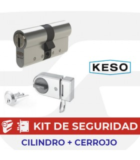 copy of Conjunto Seguridad Cilindro 8000Ω Premium con Cerrojo,Cromo, KESO