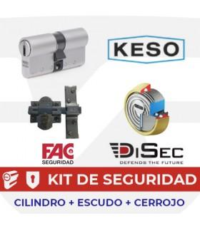 KIT Básico 2 CILINDROS ALTA SEGURIDAD KESO MASTER REFORZADO + 2 ESCUDOS ROC +CERROJO