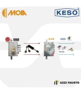 Kit sustitución cerraduras gorjas puertas Dierre 73 con cilindro Master 8000 , Moia, Azzi, Keso