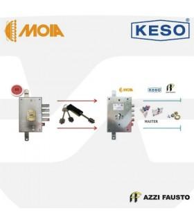 Kit sustitución cerraduras gorjas puertas nacionales 63 con cilindro Master 8000 , Moia, Azzi, Keso