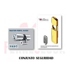 Kit Cilindro Alta Seguridad, Perfil Suizo 4000Ω Master + Escudo magnetico MG060