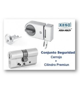 Conjunto Seguridad Cilindro 4000Ω Premium con Cerrojo,Cromo, KESO