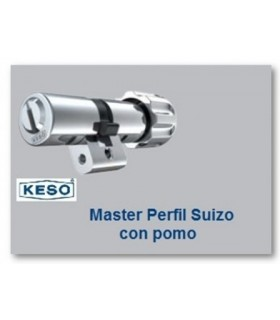 Cilindro Alta Seguridad, Perfil Suizo con Pomo 4000Ω Master, KESO