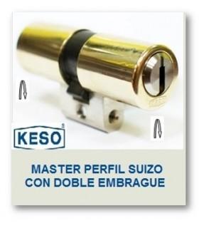 Cilindro Alta Seguridad, Perfil Suizo con Doble Embrague 4000Ω Master, KESO