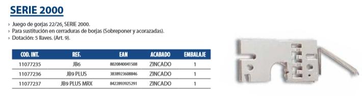 JUEGO GORJAS SERIE 2000 CERRADURAS, CR