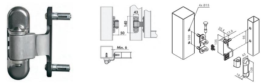 Bisagra regulable en 3 ejes 3DM de Locinox