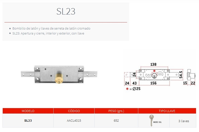 sag cerradura persiana SL23