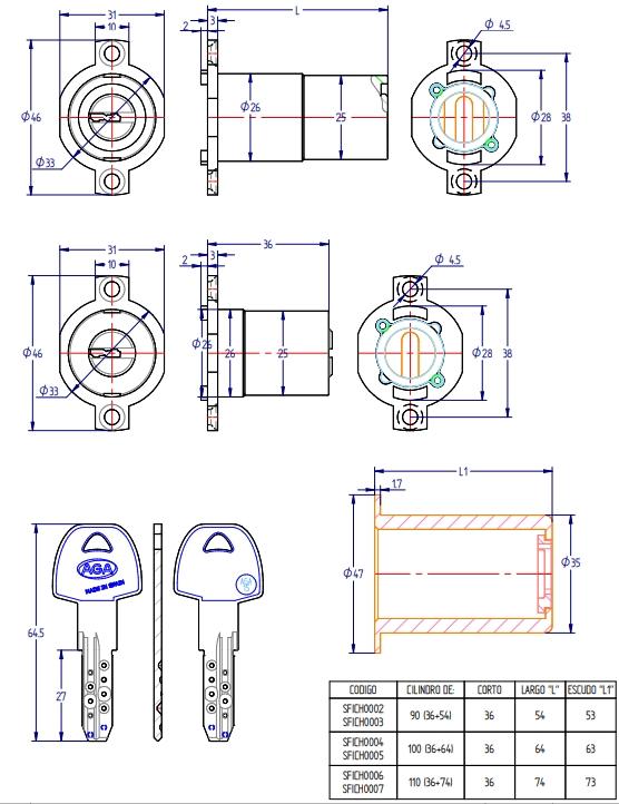 Cilindro de seguridad para cerradura modelo Fichet de Aga  Sistema anti intrusión, anti-bumping, anti-ganzua y sistema de bloqueo cruzado (patentado)