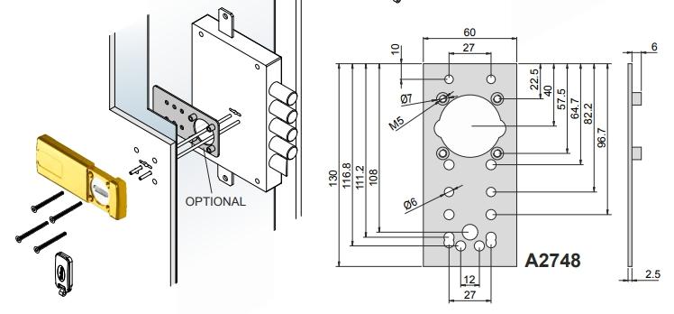 Placa instalación escudos magneticos MG210, MG310 y MG410 , Disec