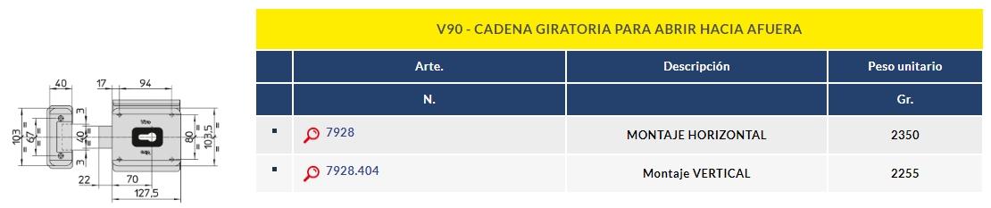 VIRO CERRADURA electrica V90